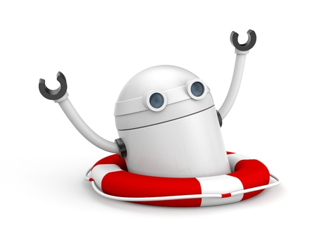 security equipment: Robot calling for help. 3d illustration