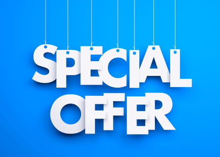 offer: Special offer - text hanging on the strings. 3d illustration Stock Photo