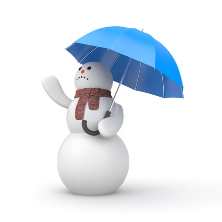 Snowman is waiting for the weather change. 3d illustration,