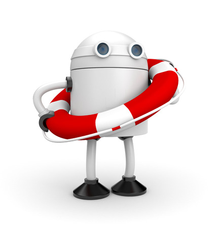 Robot with life buoy. 3d illustration