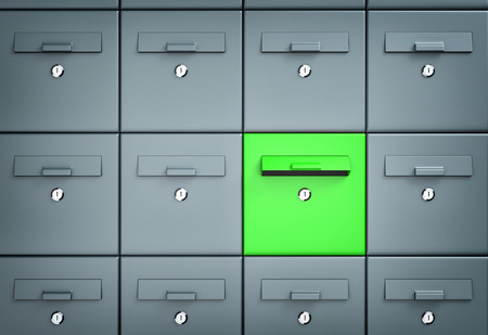 Many mailboxes one of which is green. 3d illustration Stock Photo
