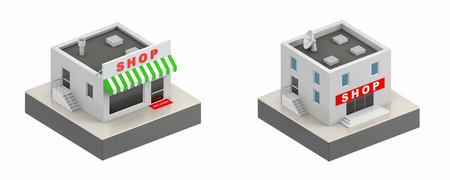 window display: Shop buildings - 3d icon. 3d illustration
