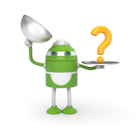 Housemaid robot have a question Stock Photo