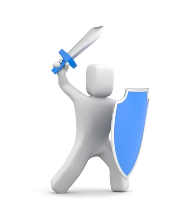 offence: Person with shield and sword - warrior. 3d illustration Stock Photo