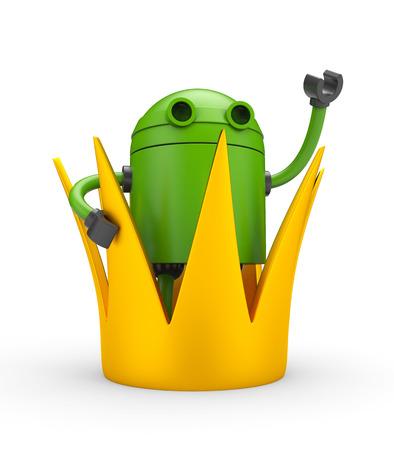 Robot con la corona - rey. 3d ilustración Foto de archivo