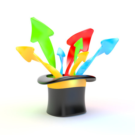 Hat and colorful arrows Stock Photo