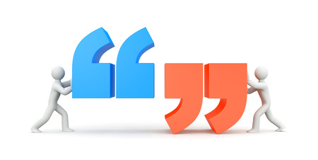 comma: Quote. People and quote symbol. 3d illustration