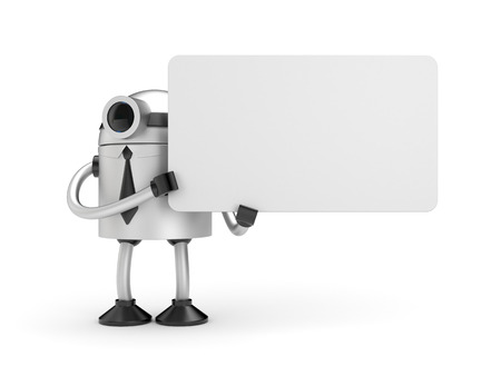 jackplug: Robot businessman holding a empty sign