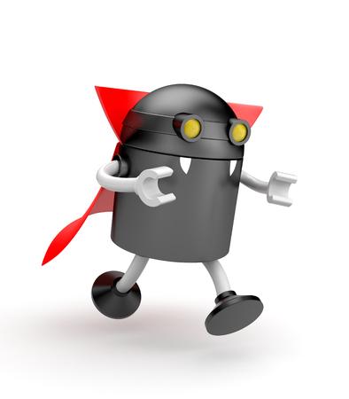 demonio: vampiro robot - se alimenta de la víctima. 3d ilustración Foto de archivo