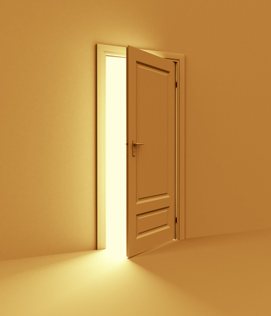 room door: Orange room with opened door. 3d illustration Stock Photo