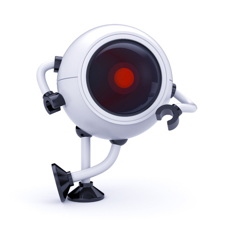 Robot security CCTV camera. 3d illustration