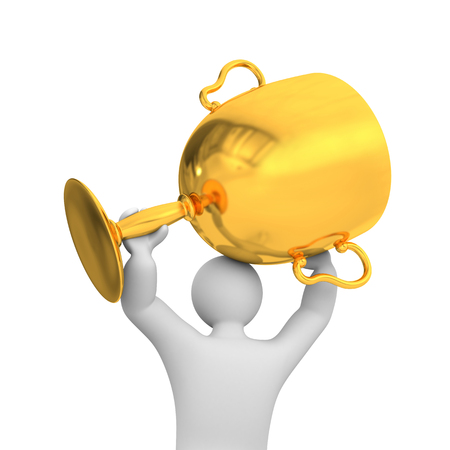 dais: 3d person hold gold cup. Success metaphor Stock Photo