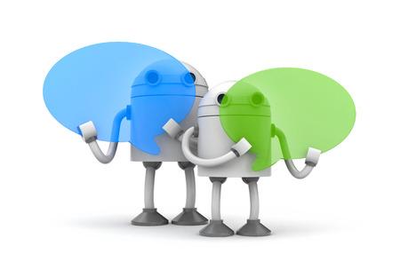 Robots with speech bubbles. 3d illustration