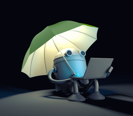 robot with shield: The robot sitting under umbrella and looks at the screen of the laptop.. 3d illustration