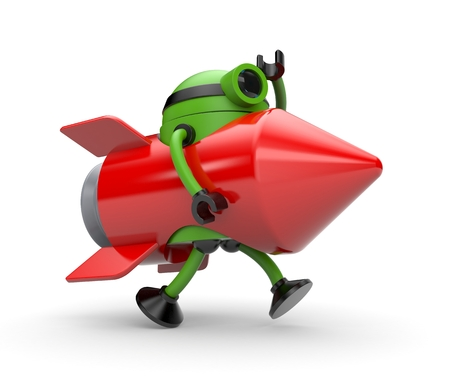 somewhere: Robot suit rocket runs somewhere. 3d illustration
