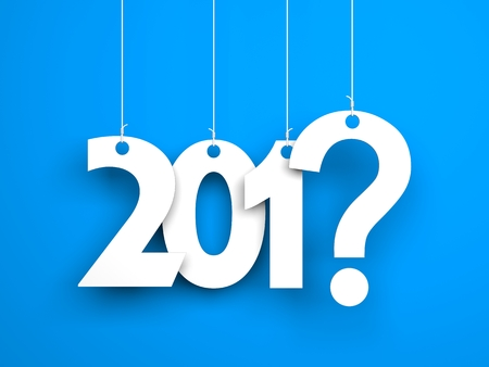 What year next? New year metaphors. White words on blue background. 3d illustration