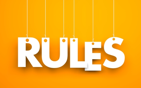 Rules - words hanging on rope. 3d illustration Stock Photo