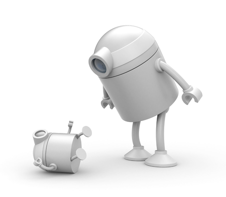 mother and baby: Robot father looks on the whims of the son. 3d illustration Stock Photo