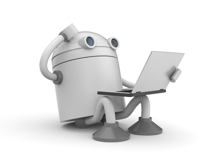 tabletpc: The robot is sitting with laptop and thinking about something. 3d illustration Stock Photo
