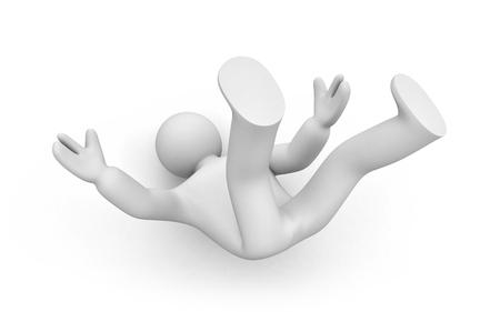 Hombre 3d que cae sobre el suelo. 3d ilustración