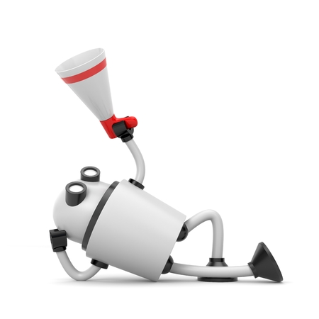 lean machine: Robot and megaphone - lying on the ground. 3d illustration Stock Photo