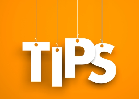 hint: Tips - word hanging on rope. 3d illustration