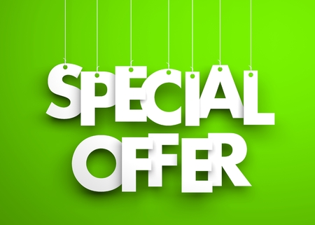 Special offer - white words hanging on green background. 3d illustration