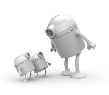 Robot family. Father and sons. 3d illustration