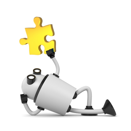 cybernetics: Robot with puzzle. 3d illustration