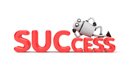 The robot lies on the word success. 3d illustration