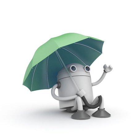 robot with shield: Robot and umbrella. 3d illustration