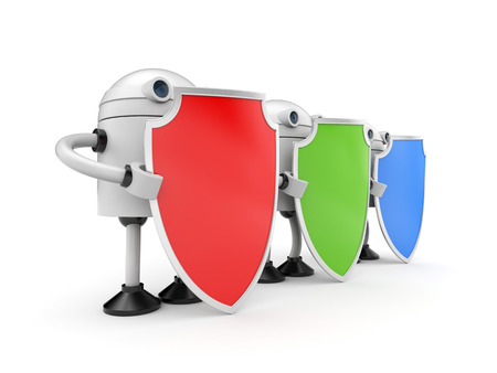 robot with shield: Three robots with shields. 3d illustration