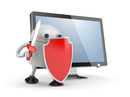 robot with shield: Robot defends the desktop computer. Robot with red shield and sword. 3d illustration Stock Photo
