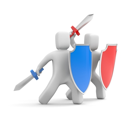 collective: Collective security, protection and attack! 3d illustration Stock Photo