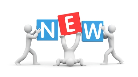 new idea: 3D people and cubes with words - new idea. Red and blue cube. 3d illustration Stock Photo