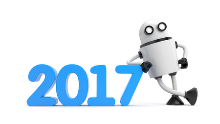 lean machine: Robot leaning on 2017. 3d illustration Stock Photo