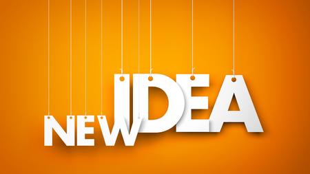 new idea: White words NEW IDEA hanging on orange background. 3d illustration Stock Photo