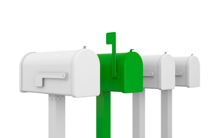 await: Four mailboxes, one of them stands out