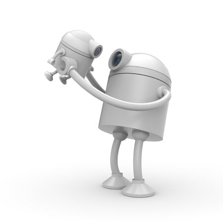 cyber girl: The robot is glad his son. 3d illustration