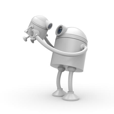 glad: The robot is glad his son. 3d illustration