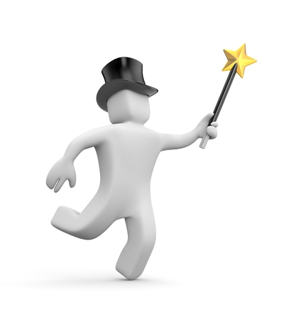 3d white man in the hat and magic wand hastens to the make miracles. 3d illustration Stock Photo
