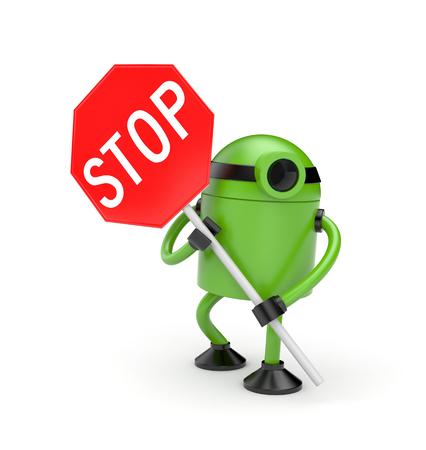 Robot con señal de stop. metáfora peligro