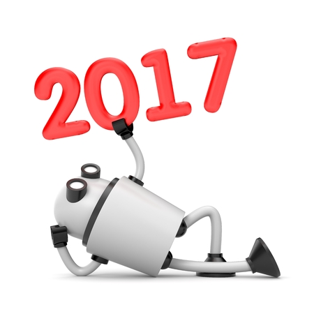 Robot with red numbers - 2017. New year metaphor. 3d illustration Stock Photo