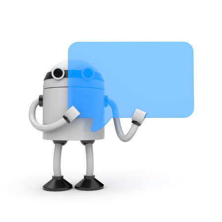 3D Robot with blue speech bubble