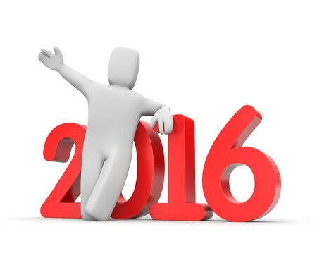 relies: 3D man leaning on the 2016 word Stock Photo