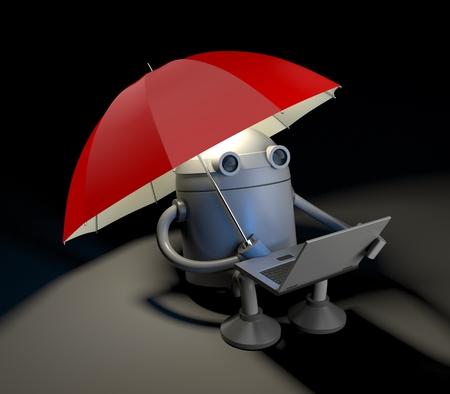 The robot sitting under red umbrella and looks at the screen of the laptop.. 3d illustration Stock Photo
