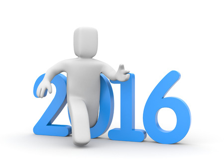 relies: 3D man run to new year Stock Photo