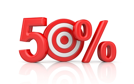 Red stripe targets with arrow form the red number 50 percent. Accurate shot metaphors. 3d illustration Stock Photo