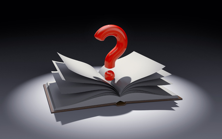 marca libros: Open book with question mark in the spot of light. 3d illustration