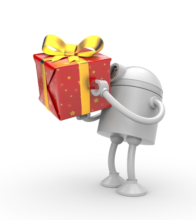 give: Robot with red gift box. 3d illustration